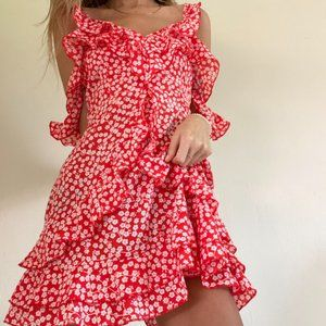 Red/ White Floral Open Back Ruffle Dress